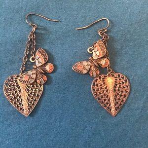 Butterfly & Heart Dangling Earrings